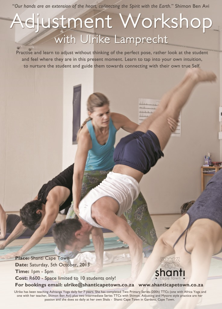 5 Oct 2013: Adjustment Workshop with Ulrike Lamprecht at Shanti Cape Town.